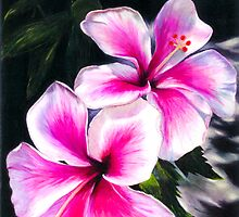 Hibiscus Flowers, Pink, Bright, Hawaiian, Tropical - Commission I accepted to do by Laura Bell