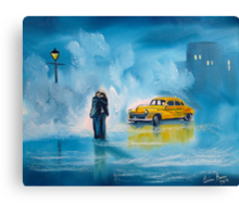 The reunion RAINY DAY COUPLE YELLOW TAXI CAB  Canvas Print