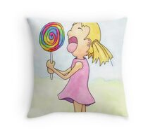 Licking a Giant Lollipop Throw Pillow