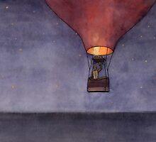 Nighttime in a Balloon over the Ocean by Tim Gorichanaz