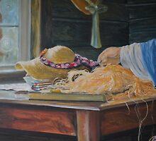 Detail of the Hatmaker unfinished by Ken Tregoning
