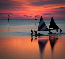 Sunset and Sailboats by Nancy Bray