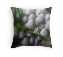 Lizard and Mushrooms Throw Pillow