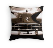 1948 cadillac front in closeup-b&w  sepia Throw Pillow