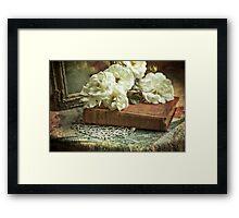 Antique white roses Framed Print