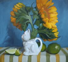 Kitty Pitcher - floral still life, porcelain cat, sunflowers, floral by DianeHoeptner