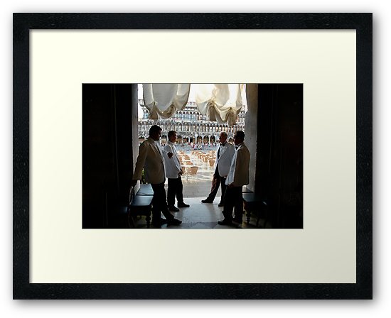 Impeccable Waiters At The Ready, Cafe Florian, San Marco Square, Venice 2009 by Ainsley Kellar Creations