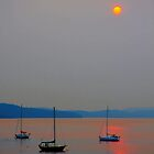 orange sun on the sea by TerrillWelch