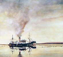 Calm day off West Falkland; The old coastal steamer by David McEwen