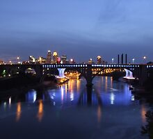 Twin Cities Nightime Bridge View by StuttgenStudios