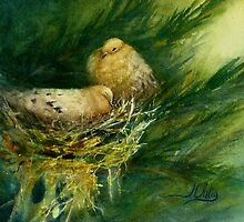 Mourning Doves - watercolor of nesting doves by JudysArt