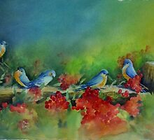 Birds of a Feather - water media painting  by JudysArt