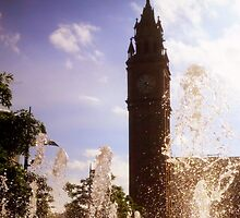 Belfast Albert Clock through fountain by Chris Millar