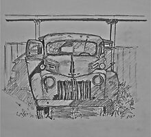 drawing Ford truck 1941 Half Moon Bay by Rose Robin