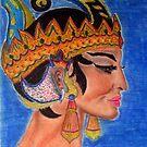Javanese dancer head crayons 1977 by patjila