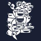 Happy Squiggles - 1-Bit Oddity - White Version by knitetgantt