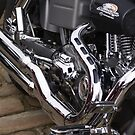 Chromed Pipes On A Harley........ by Sandra Cockayne