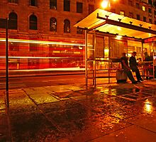 Central London Rainy Night - bus stop by DavidGutierrez
