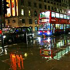 London Transport in the Rain - Trafalgar Square by DavidGutierrez