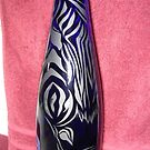 Bottle Etching, Zebra by Sandy Sparks