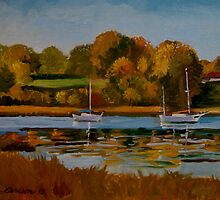 East Greenwich, R.I. sail boats in the fall. by alan carlson