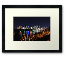 Brisbane River & City At Night. Queensland, Australia. Framed Print