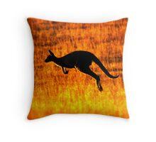 Kangaroo Sunset Throw Pillow