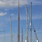 Yacht masts in a summer sky by Christine Hosey