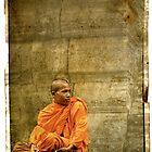 Monk at Angkor Wat Cambodia by Louise Fahy