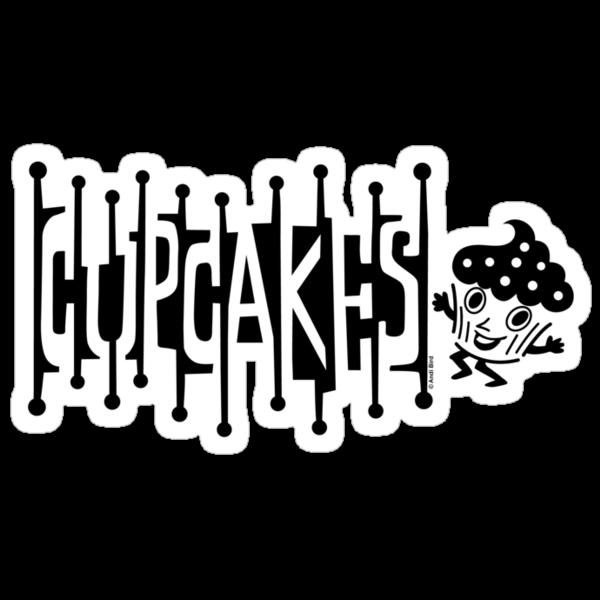 Retro Cupcakes - black by Andi Bird