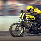 The Banned TZ750 cruising by at over 100 MPH. by Lar Matre