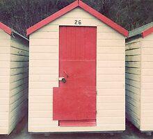Red and White Beach Hut by eyeshoot