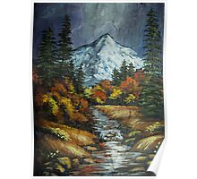 Mountain Stream on Slate Poster