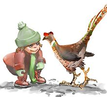 Thelma meeting a pheasant by ArtMagenta