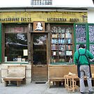 Carpenter outside Shakespeare and Co. book shop - Paris by Wendy Giles