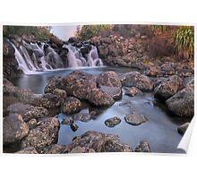 Waterfall Sunset Poster