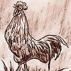 Rooster in Sepia by Brenda Scott