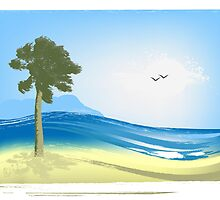 Illustrated seascape by Olga Altunina