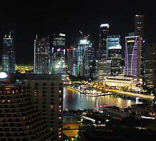 Singapore Night Panorama Cityscapes by Okki  Kalin