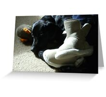 Domestic Bliss (dog at mistress' feet with toy)  Greeting Card