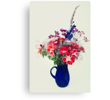 flowers in blue vase Canvas Print