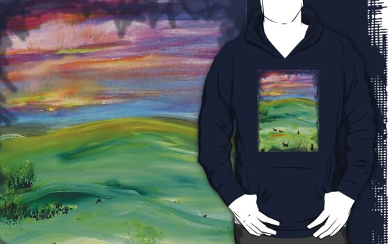 Black cat landscape by Regina Valluzzi