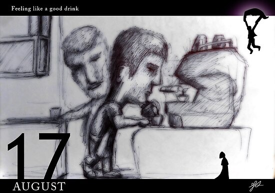 August 17th - Feeling like a good drink by 365 Notepads -  School of Faces