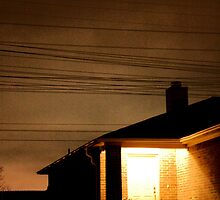 A Suburban Home at Night by amdrecun