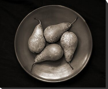 four pears in a bowl by Dave Milnes