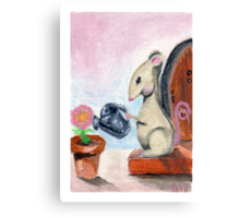 Miss Mouse Tends House Canvas Print