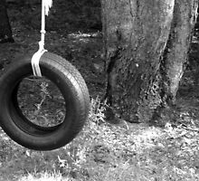 Tire swing in the cherry tree  by Katie Woodcock