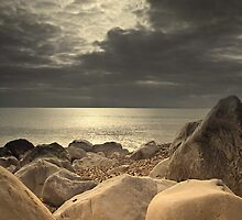 """Calm Before the Storm"" - Rock Formations on Milford beach by silvcurl09"