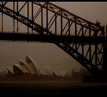 AC011 Sydney Harbour Bridge and Opera House by sydneyphotoart