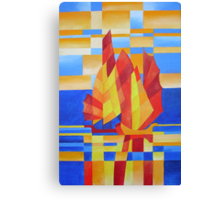 Sailing on the Seven Seas so Blue Cubist Abstract Canvas Print